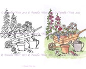 Digistamp/Designer resource. Instant Download. Wheelbarrow  Digi stamp and coloured stamp - Digi Stamp - floral - art for cards and crafts