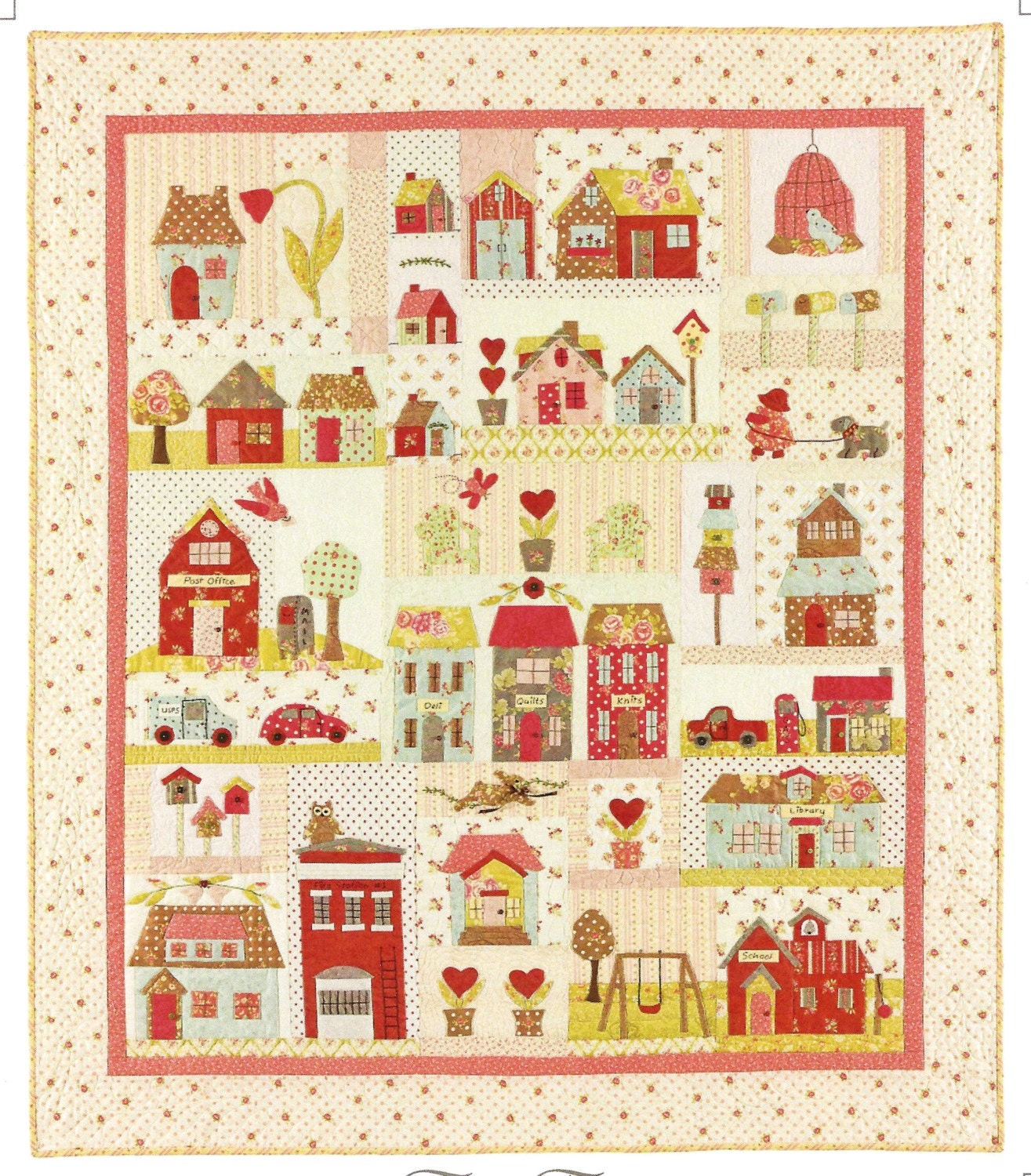 Quilt Patterns Block Of The Month : Tiny Town Block of the Month Applique Quilt Pattern Set by