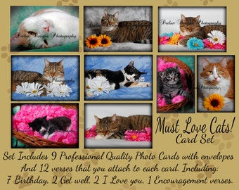 Must Love Cats Occasions Photo Card set with envelopes