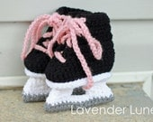 Hockey Skate Booties for Girls - Crochet Photo Prop.