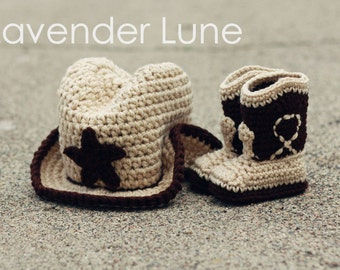 The Western  Set- Cowboy Baby Booties and Detailed Hat
