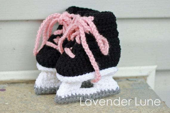 Hockey Skate Booties for Girls - Crochet Photo Prop.