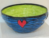 large blue & lime coil bowl with red hearts