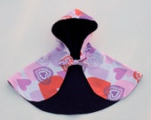 Reversible Cape - Purple Corduroy with Prints Charming Hearts Lining Size 1 - 3 Years