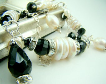 Pearl statement bracelet, black crystal double strand charm bracelet, bridal jewelry,... TUXEDO