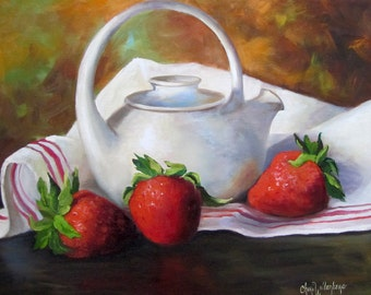 Kitchen Food Painting, Still Life, Red Strawberries And White Teapot, Original 14x18  Canvas by Cheri Wollenberg