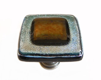 Glass Cabinet Knob in Silver and Bronze Iridescent Art Glass