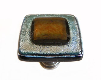 Glass Cabinet Knob in Silver and Bronze Iridescent Art Glass - Custom Center Colored Art Glass Available