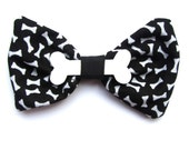 Bone Print Fabric Hair bow with Plastic Bone Charm exclusively by Dolly Cool