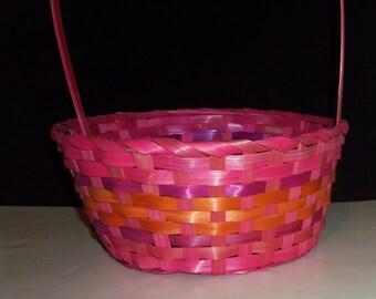 Pink Basket Hot Pink Orange Fuchsia Vintage 1980's woven wicker Easter Basket