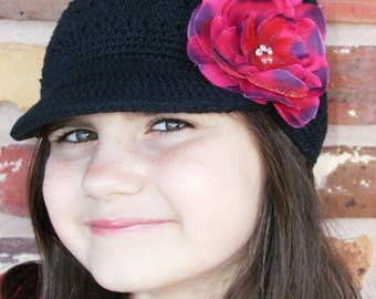 NEW ITEM----Boutique Crochet Black Newsboy Cap with Rhinestone Flower Clip---Fits 2 years and Up