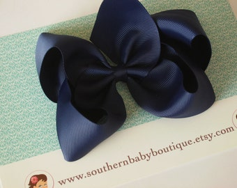 NEW----Simple X-Large 5.5 Inch Hair Bow----Navy Blue----