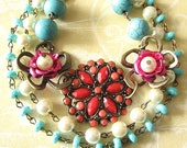 Flower Necklace Bib Necklace Turquoise Jewelry Coral Necklace Statement Jewelry Multi Strand