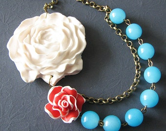 Bridesmaid Jewelry Flower Necklace Statement Necklace Turquoise Necklace Beaded Necklace Gift For Her