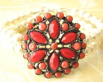 Cuff Bracelet Charm Bracelet Coral Jewelry Red Coral Bracelet Bridesmaid Jewelry Pearl Bracelet Flower Bracelet