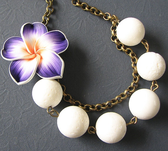 Flower Necklace Purple Jewelry White Necklace Bridesmaid Jewelry Tropical Bib Necklace Statement Necklace Gift For Her