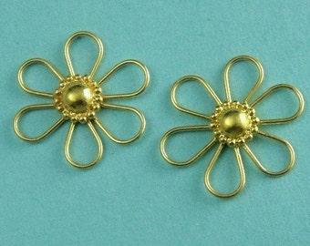 2 of 24kt Vermeil Flower Connector Link,  Bali 24k Gold over Sterling Silver 19.5x3.5 mm (single side)-