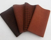 "Hand Dyed Wool Felt, CINNAMON , Four 6.5"" x 16"" pieces in Rich Rust Brown"