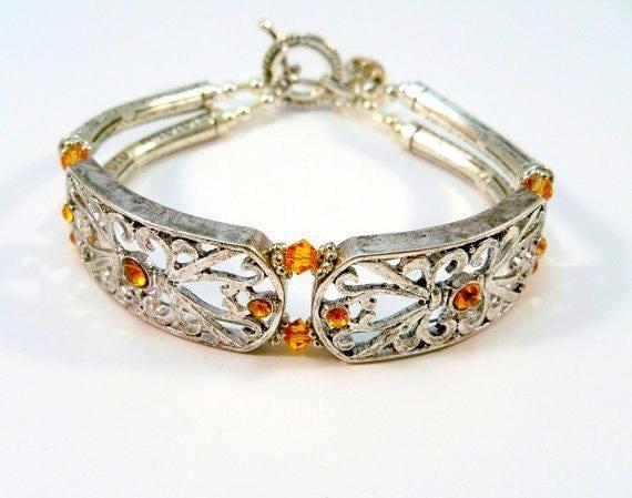 Double Strand Bracelet, Silver Bracelet, Beaded Bracelet, Amber Crystal Bracelet, Birthstone Jewelry, Fashion Jewelry
