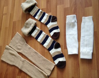 vintage Lot of 3 pairs legwarmers boot socks hippie 70's