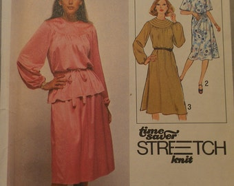 Loose Fitting Knit Dress Blouse Skirt with Yoke Detail 12 14 16 Simplicity 8740