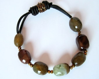 Jewel Agate Leather Stretch Bracelet