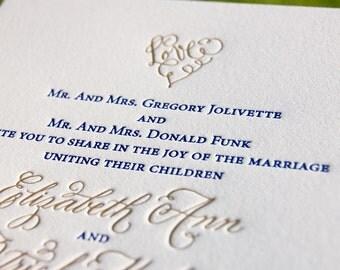 Letterpress Wedding Invitations DEPOSIT Calligraphy LOVE Heart