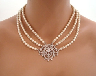 Victorian style necklace, bridal necklace, pearl necklace, cubic zirconia necklace, vintage style necklace