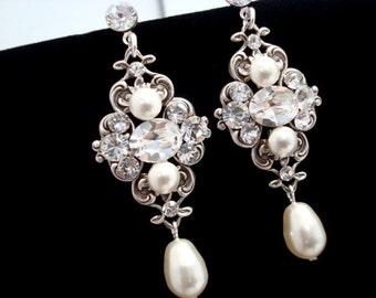 Bridal earrings, Pearl earrings, Wedding earrings, Vintage style earrings, Chandelier earrings, Swarovski crystal rhinestone earrings ASHLYN