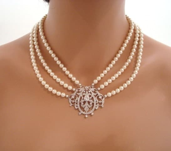 Victorian Style Necklace Bridal Necklace Pearl Necklace
