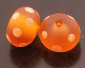 SRA Handmade Glass Lampwork Beads Etched Sea Glass Topaz Apricot Orange Polka Dot Rondelle Earring Pair Heather Behrendt BHV LETeam