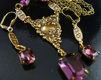 Victorian Inspired Antique Gold Brass Amethyst Necklace and Earrings - FREE U.S. SHIPPING