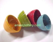 Miniature Pottery Art Play Scale Bowl Set ~READY NOW~ Bright Colors Orange Lime Red Aqua Mini Pottery Bowls