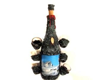 60s Italian Bar Ware / Liqueur Bottle Shot Glasses Set / Liquor Souvenir / Ski Souvenir