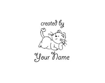 Handle Mounted or Cling Personalized Name custom made rubber stamps C16