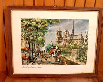 Paris Notre Dame Vintage Framed Print