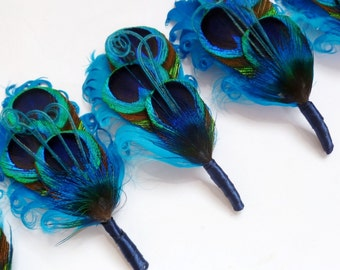 Customizable Peacock Feather Boutonniere or Lapel Pin - ELLIE on Turquoise