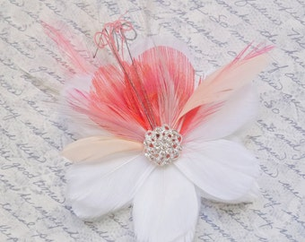 RIVIERA in Coral and Peach - Multi Layer Bloom Bridal Flower Fascinator - customizable