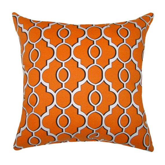 Orange Modern Outdoor Throw Pillow Mill Creek Drammen Solar