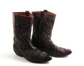 Fifties Cowboy Boots Vintage 1950s Black 50s Leather Men's 11 D