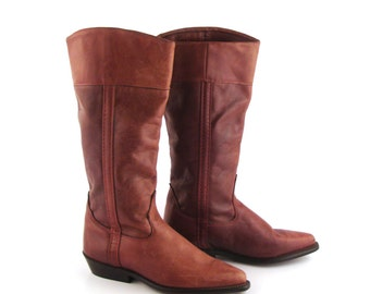Wrangler Cowboy Boots Vintage 1980s Rich Carmel Whiskey Brown Women's size 6 1/2