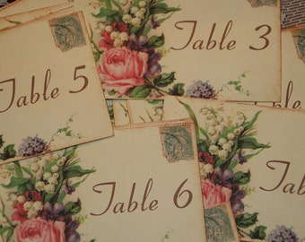Wedding Table Number Cards,  Vintage Postcard Style Shabby Chic Wedding, Quantity 20