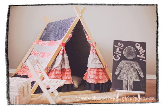 Kids Ruffle Teepee Tent (A-Frame style) - made to order