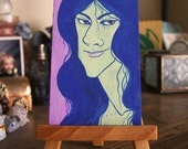 Mini Painting- ODD WOMEN Witch or Elf 2 x 3.5 in Gouache