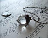 Glass Acorn Necklace by Bullseyebeads - April Birthstone Diamond Clear