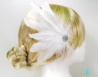 Bridal feather hair clip weddings accessories white feather hair clip classic bridal hair clip bride white hair clip rhinestone Esty wedding