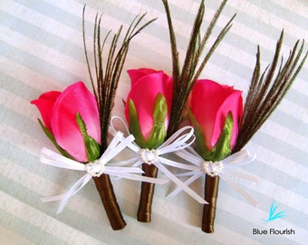 Pink groomsmen boutineer pink wedding party pink flowers rose boutonniere simple rose boutonniere groom accessories pink rose lapel pin pink
