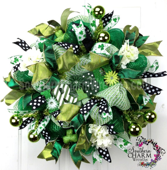 deco mesh st patrick 39 s day wreath irish sign emerald. Black Bedroom Furniture Sets. Home Design Ideas