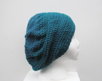 SALE, Dark Teal Crochet two tone Slouch Hat, ready to ship.