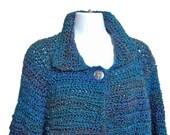 Women Blue Sweater Crochet Size Large Jacket Style